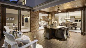terrasse en bois et salon en résine